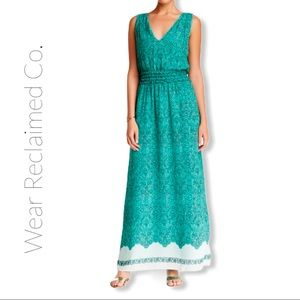 Max studio Printed Maxi Dress | Mint Green & White
